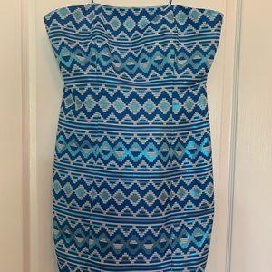 Belle Badgley Mischka Strapless Blue Shiny Dress
